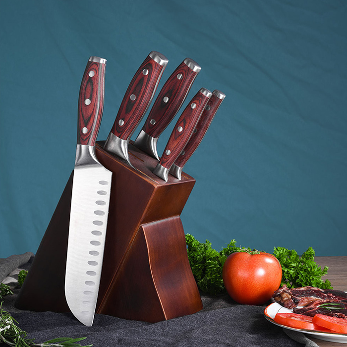 RUTIAI Full-Tang Pakkawood Cleaver Best Chopping Knife Set GM1604-06T