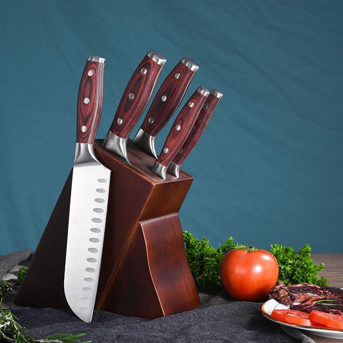 RUTIAI Full-Tang Pakkawood Cleaver Best Chopping Knife Set GM1604-06T