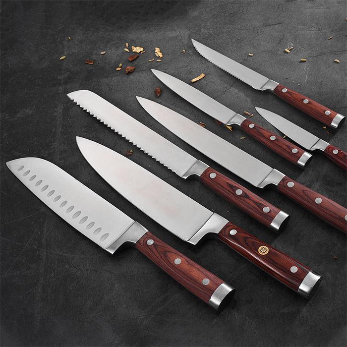 RUITAI X5Cr15MoV Steel cutlery knife set with Pakkawood Handle GM1712