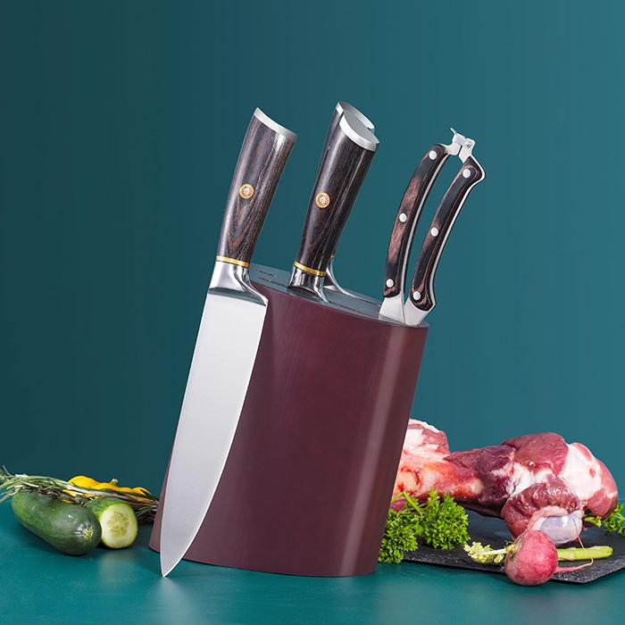 Kitchen Cleaver Knife Set Full-Tang Pakkawood Mosaic Rivet Ruitai GM1713-05T