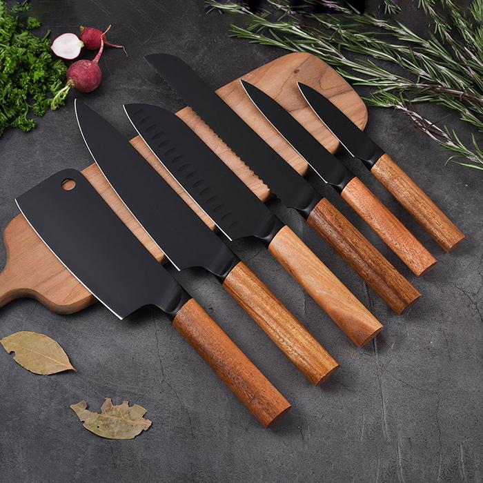 RUITAI 6 PCS Black Coating 3Cr14 Kitchen Knife Block Set GM1929-06T
