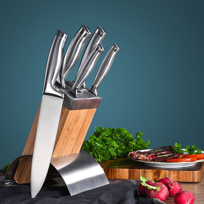 RUITAI Hammered Wave Embossing Pattern 5-pcs Knife Block Set K1678-06T