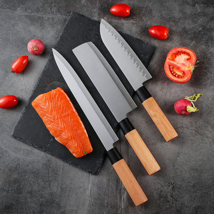 RUITAI 3 pieces 3Cr14 Wood Handle Butcher Knife Set M1007-03T