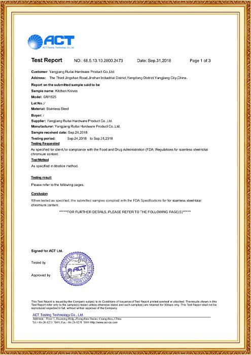 FDA Test Report GM1825