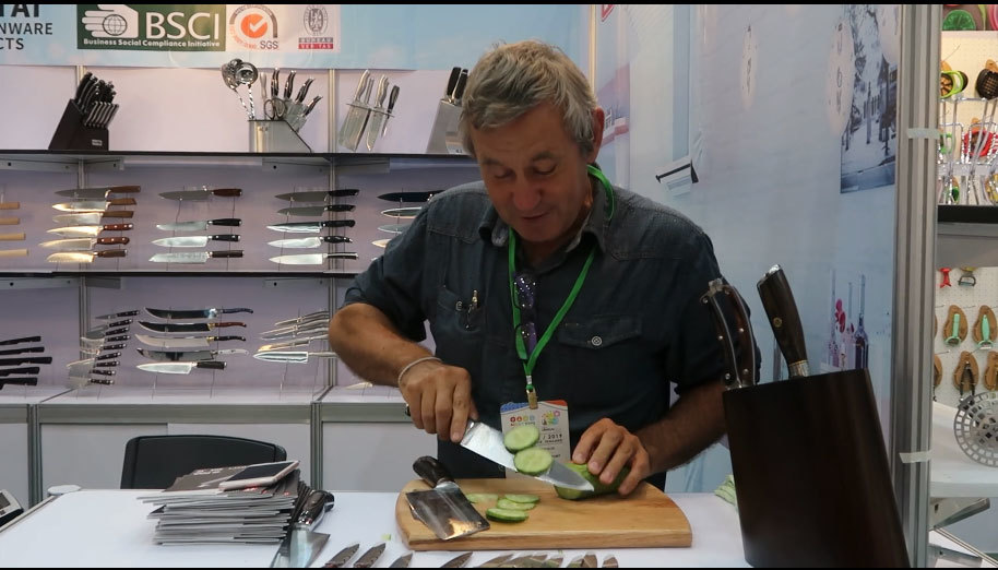 Our France client displays the testing of our knife set