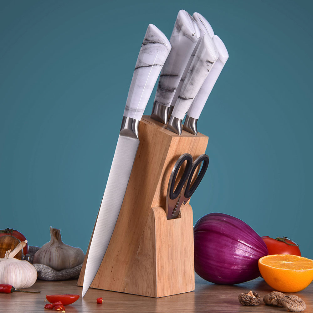 RUITAI Stainless Steel Kitchen Knife Set Marble Coated K1041-07T