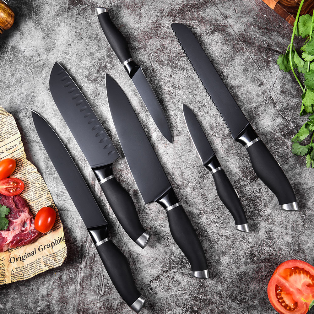 RUITAI Stainless Steel Cooking Knife Set Color Coating TPR Handle K1783-06T