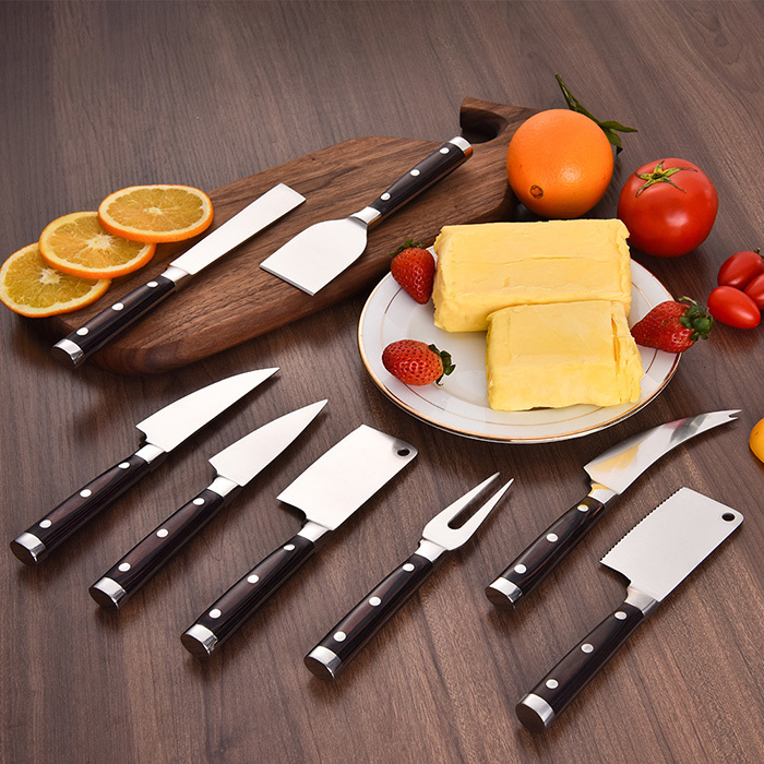 RUITAI Forged 430 SS Pakkawood Butter Spreader Cheese Knife Set GM1712-08T