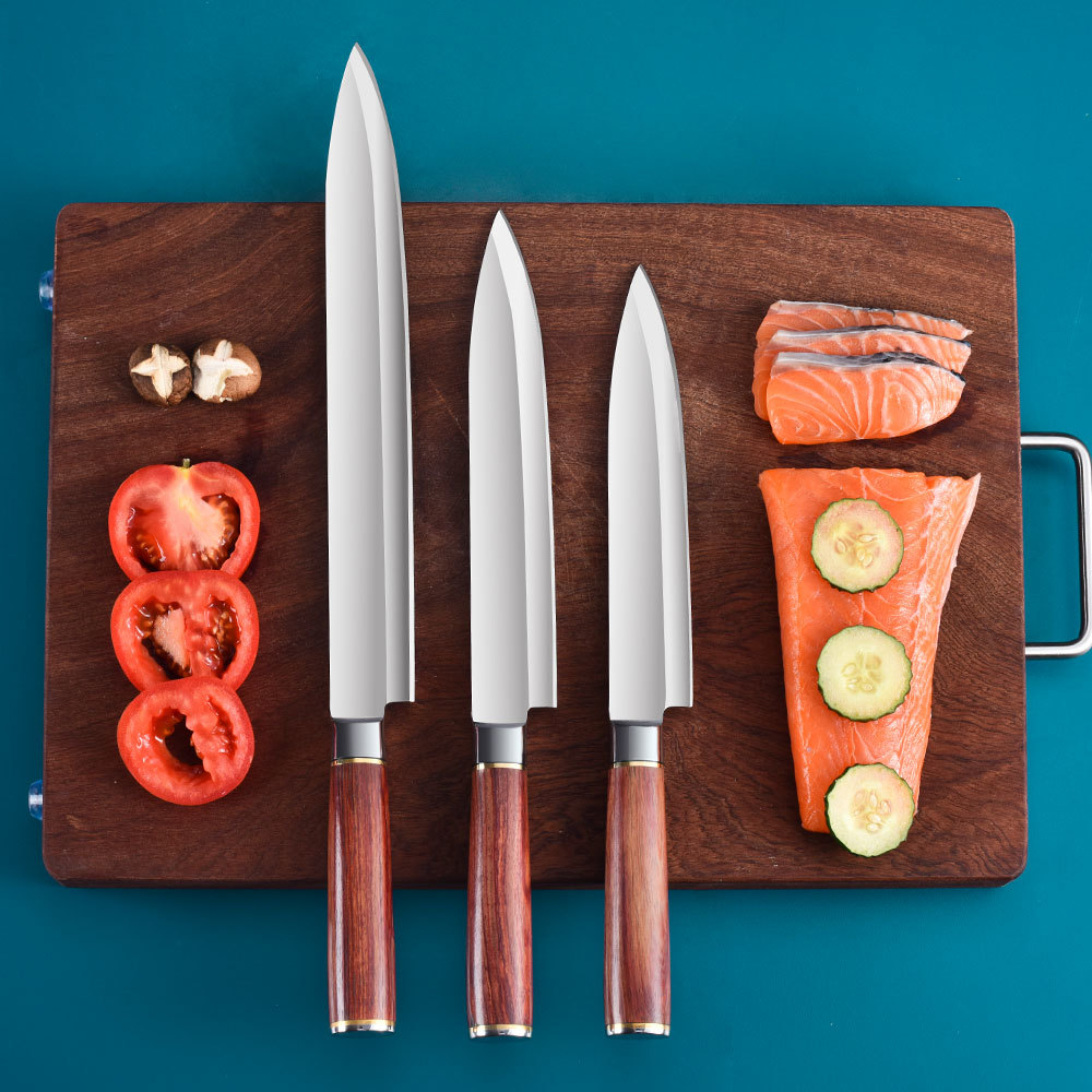 Salmon Fillet Knife Set Fish Slicing Mkuruti Wood Handle RUITAI GM1822A-R3T