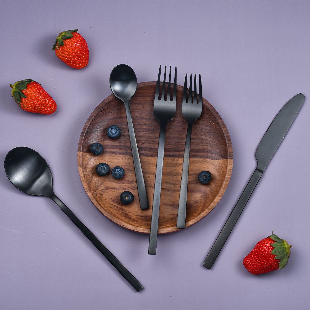 Stainless Steel Black Cutlery Set 5-Piece Knife Fork Spoon RUITAI C1-05T