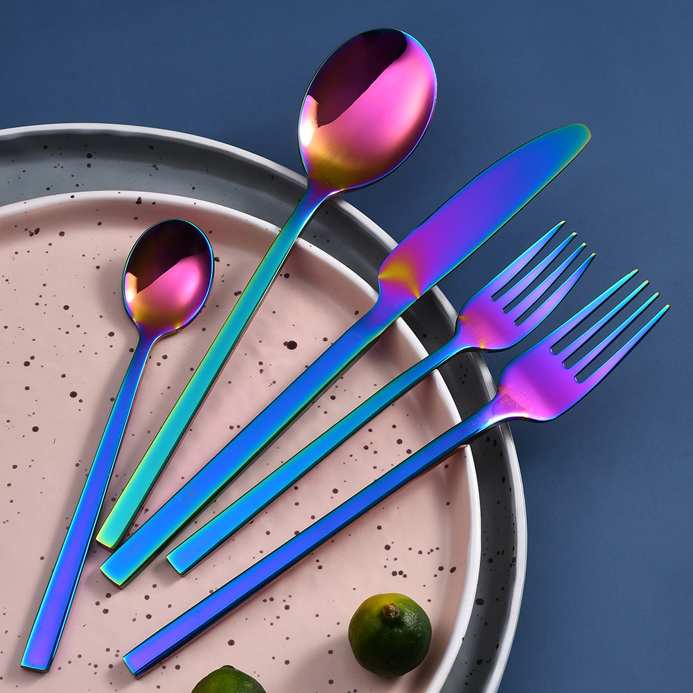 Rainbow Cutlery Set Stainless Steel Multicolor Family Tableware Set RUITAI C2-05T