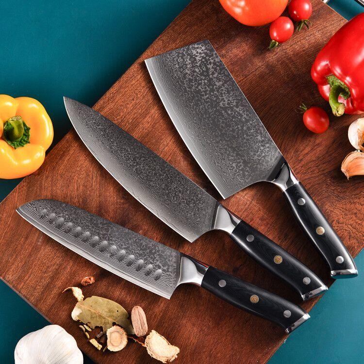 Santoku kitchen knife set Mosaic Riveted G10 Damascus steel 67 layers RUITAI D2