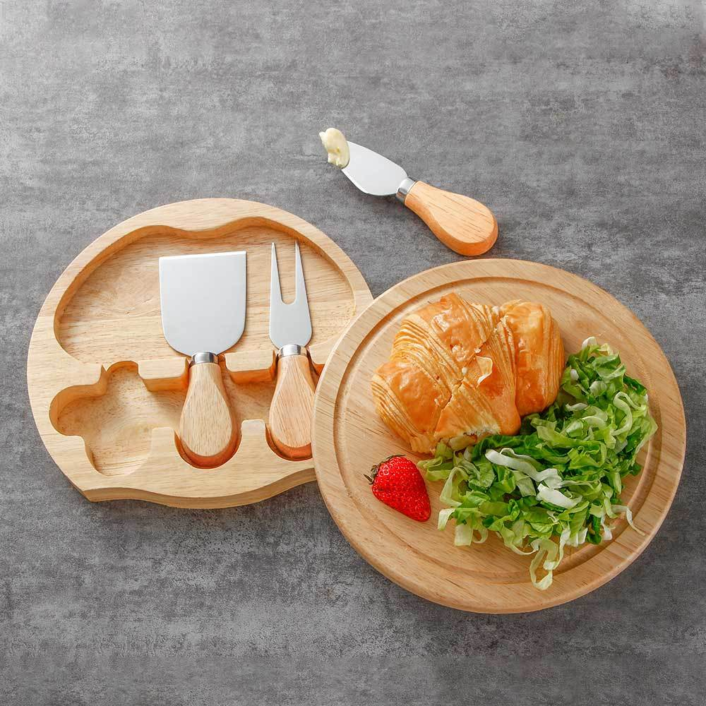 RUITAI Hot sale cheese knives set rubber wood handle 4 piece with cheese board M708-04T