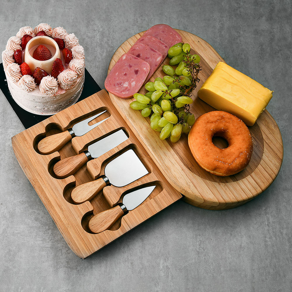 RUITAI wholesale oval bamboo cheese board set with four pieces cheese knives M708-05TO