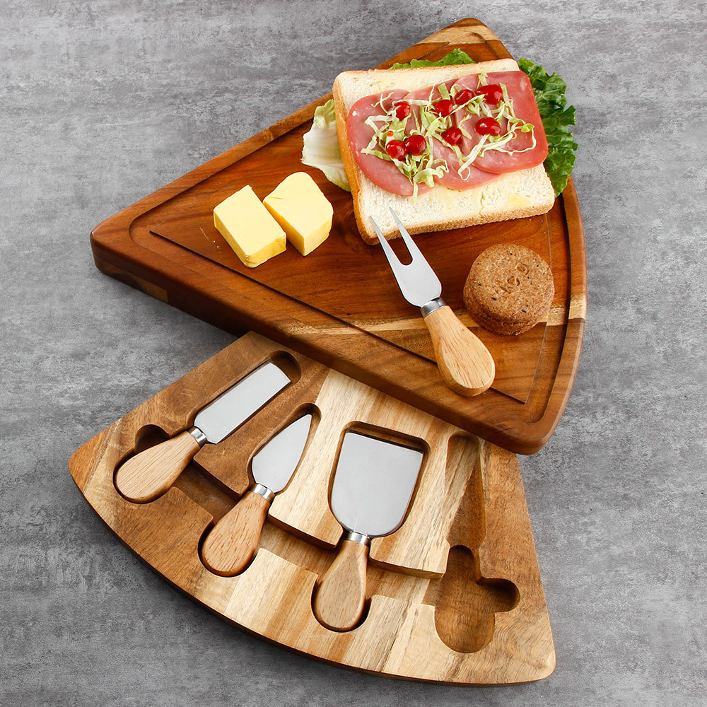RUITAI acacia wood cheese board knife set Stainless steel triangle shape Removable Tray M708-05TA