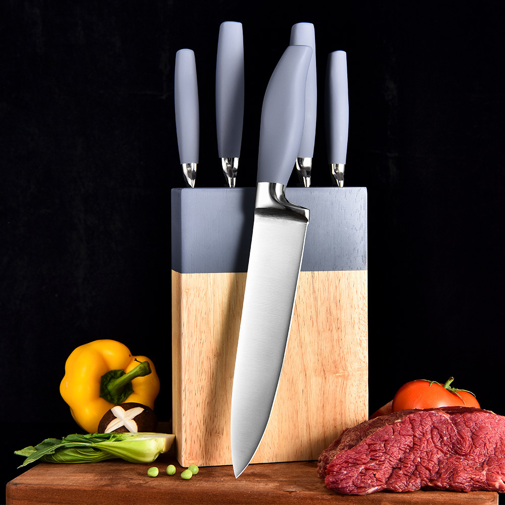 RUITAI Professional color customize TPR Gray Stainless Steel Kitchen Knife Set with paint wooden block  K1150-06T