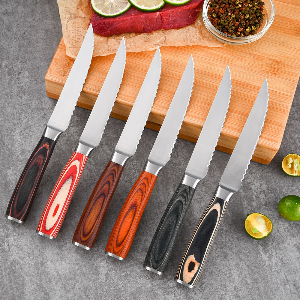 RUITAI Hot selling steak knife with bamboo tray board stainless steel 3cr13 polish colorful classic pakkawood GM1606-07T