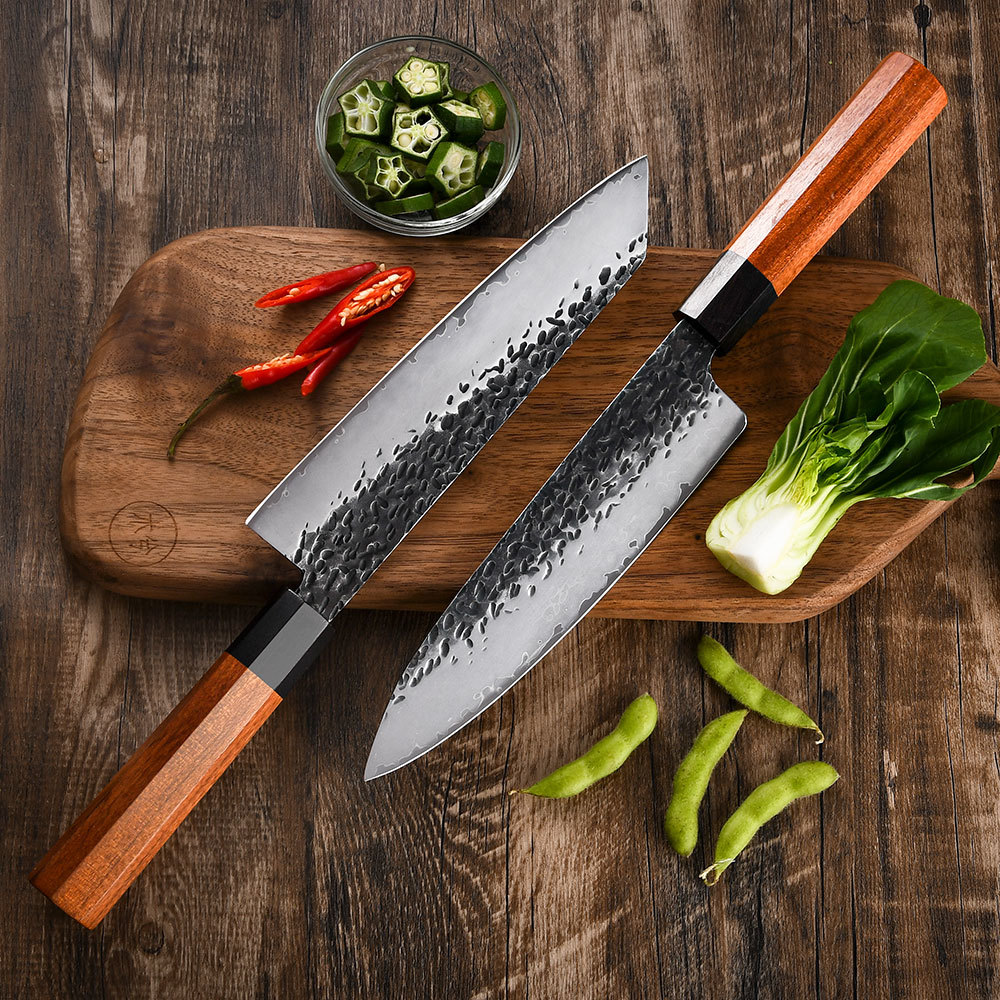 RUITAI Chef kitchen knife set Rosewood handle High Carbon Steel 5 layers 9Cr18MoV Steel 2 pieces WN49