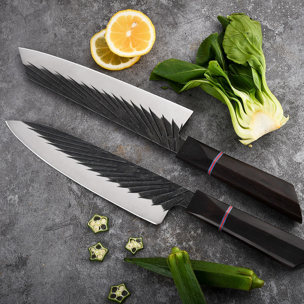 RUITAI Kitchen Chef Knife Ebony Handle High Carbon Steel Forged Blacken WN56