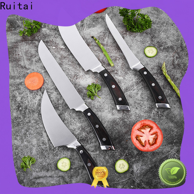 Ruitai wood knife block set with steak knives for business for chef