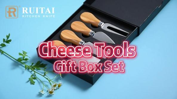 RUITAI Exquisite 4-Piece Butter Cheese Knives Set, Stainless Steel Cheese Knife Collection (Acacia/Rubber Wood Handle Options)