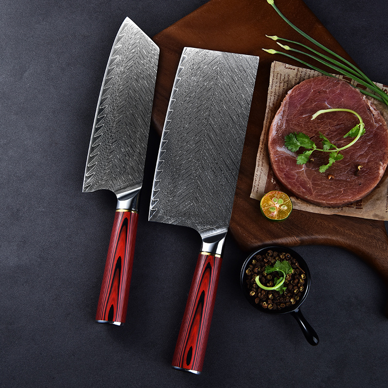 Professional 8 inch 9Cr18 67 layers damascus blade steel kitchen willow blade damascus knife chef