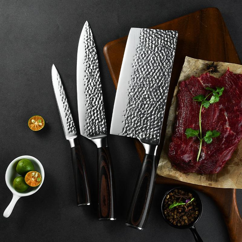 Ruitai Factory Price Forged Pakka Wood Damacus Hammer Pattern Kitchen King Chef Knife Set