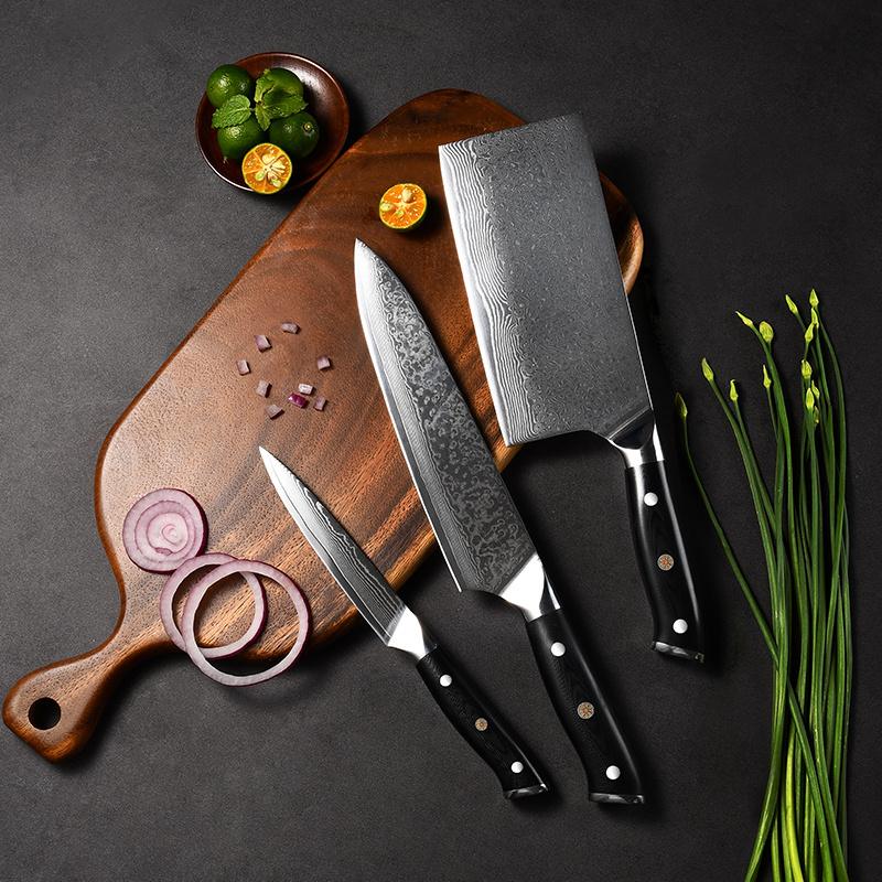 RUITAI Chef Knife G10 Handle 67 layers of Damascus Steel 3 Pcs Kitchen Knife Set WN48