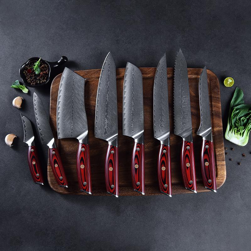 Ruitai luxury cooking pakka wood handle damascus kitchen knife set 10cr15mov vg10 chef damascus steel knife