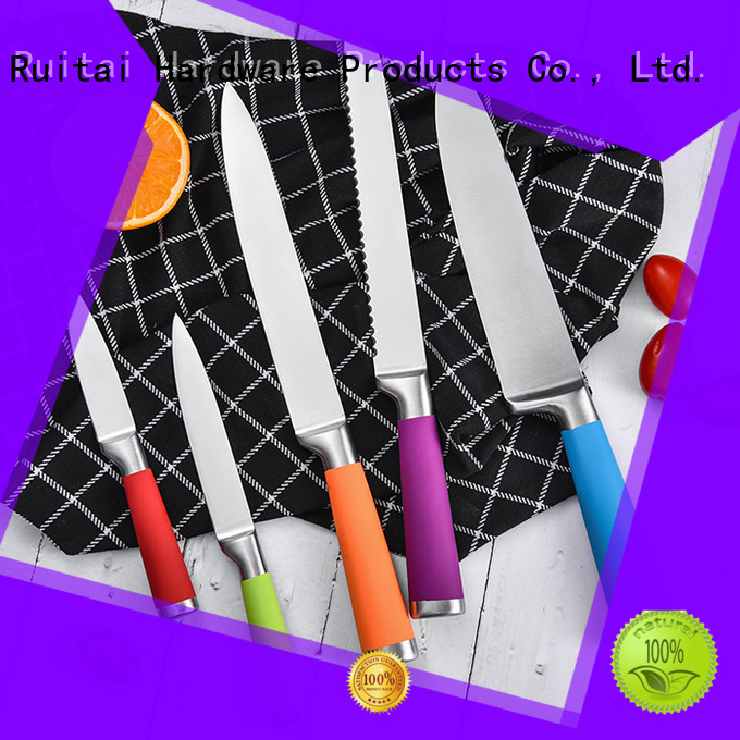 Custom kitchen knife set with stand colorful supply for chef