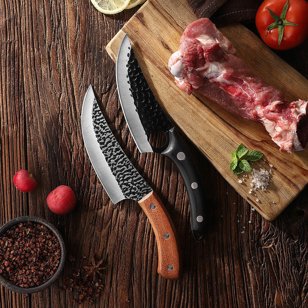 RUITAI Kitchen Stainless Steel hammered Pattern Kitchen Butcher Knife with Double Optional Handle WN801