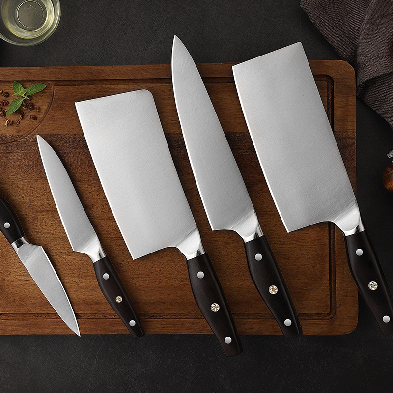 RUITAI 5pcs Ebony wood 3Cr13 stainless steel kitchen cooking knife set GM2064