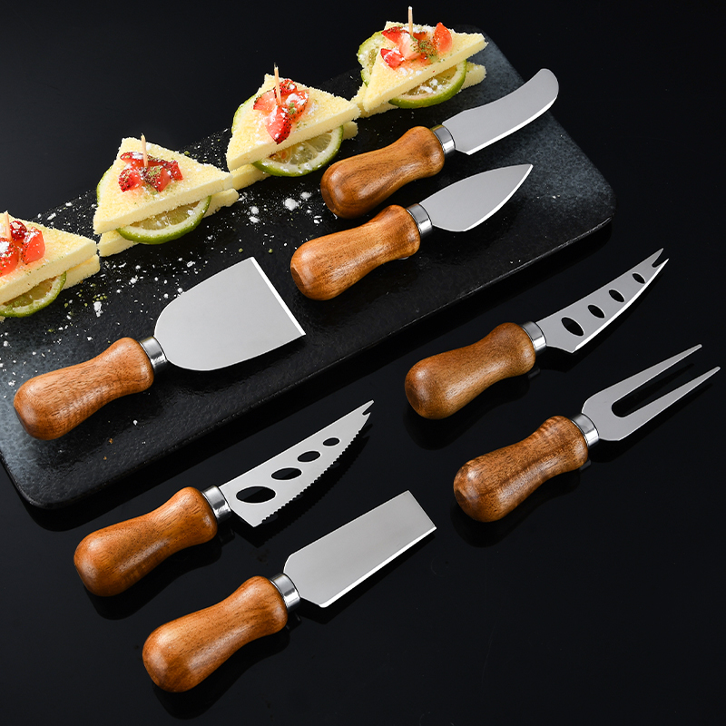 RUITAI Butter Custom 4 pieces PP acacia handle butter cheese knife blades set stainless steel WN85