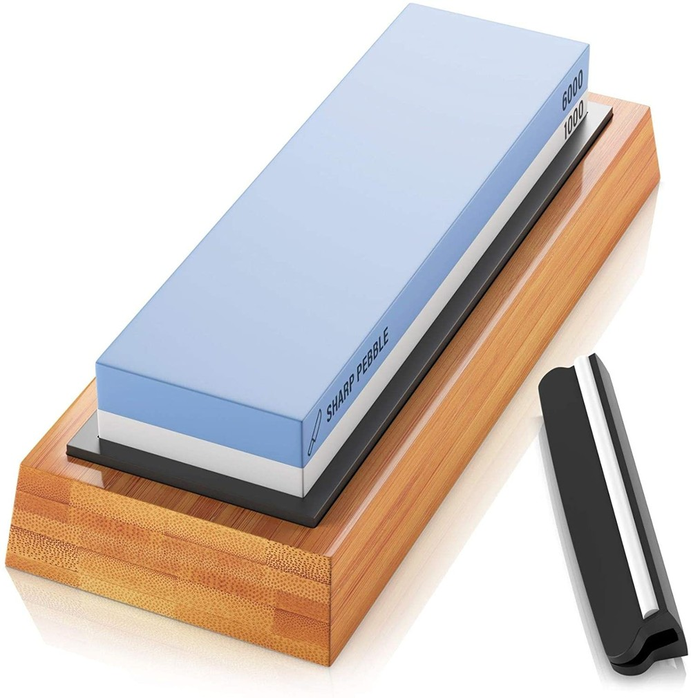 RUITAI Wholesale Double Side Grit Aluminum Oxide Whetstone Knife Sharpening Stone With Bamboo Base WS6