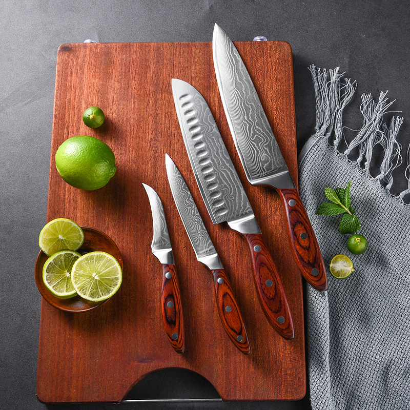 New Arrivals VG-10 Damascus Steel Kitchen Chef Knife Set In Stock With OEM/ODM Handle