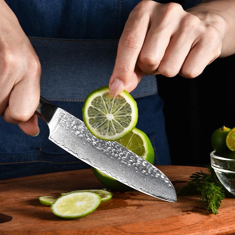 RUITAIVg10 damascus steel Chinese custom hammered hand made chef knife set kitchen WN111