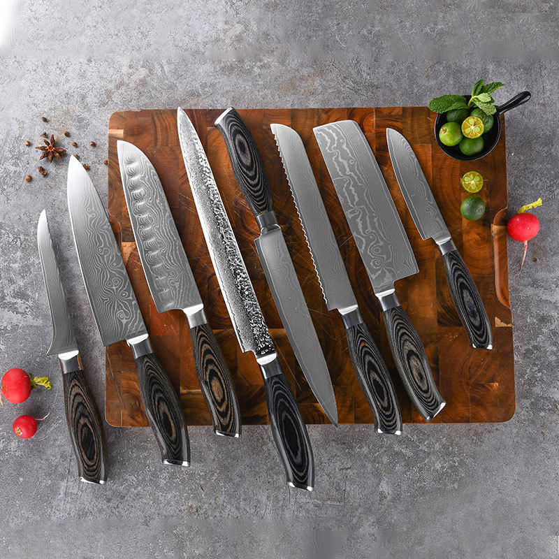 RUITA Professional OEM Damascus VG10 Steel Kitchen Knife Set Knives With Optional Hammered Style Knife Blade WN112