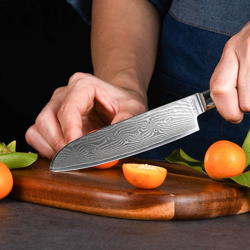 RUITAI OEM Damascus Laser Pattern Kitchen Knife Pakka Wood Handle Chef Knife Set WN116