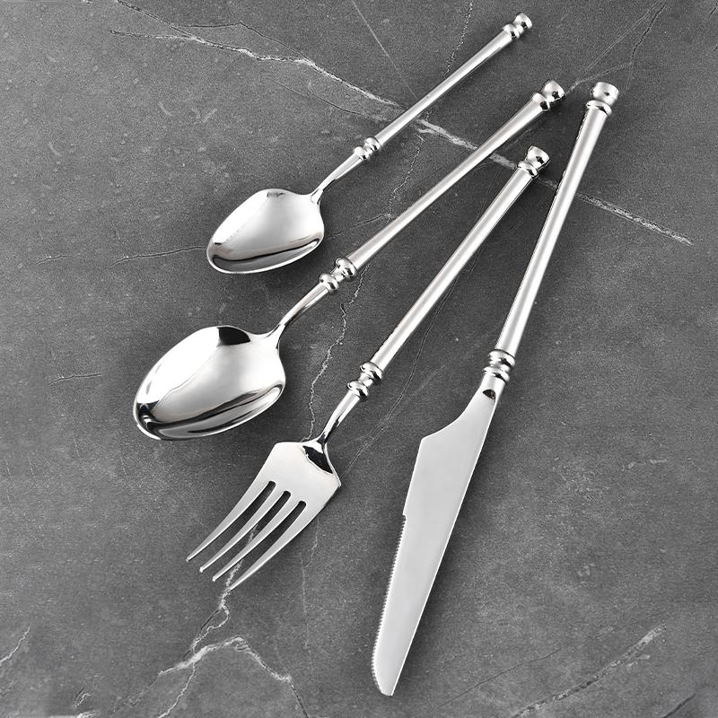 RUTIAI Exquisite Sliverware 4Pice Metal Flatware Set Stainless Steel Dinnerware