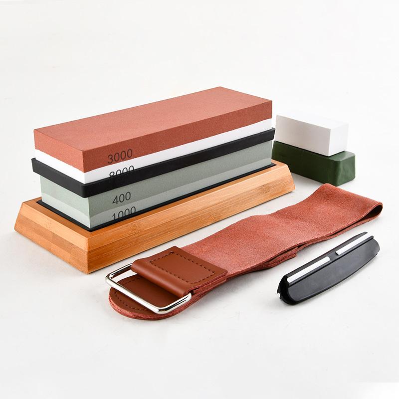 RUITAI Premium High Quality White Corundum Whetstone Knife Sharpening Stone Set 10PC 2 Side Grit 3000/8000 & 400/1000