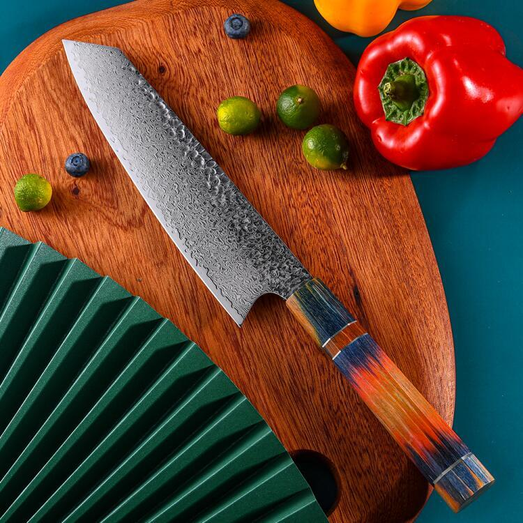 RUITAI Octagonal Japanese 67 Layers steel chef knife with hammered pattern WN64